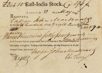 First Stock Certificate of East-India Company