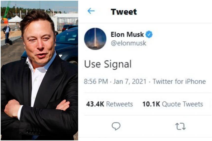 "Elon Musk's Tweet ""Use Signal"""